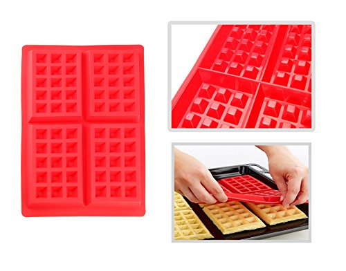 Silikon Backform Kuchenform Pralinenform Tortenform Eiswürfel Brotform Förmchen Backformen Schokoladenform (Waffelform)