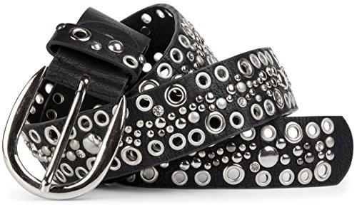 styleBREAKER Nietengürtel mit echtem Leder, Lochnieten und Strass im Vintage Style / kürzbar 03010026, Farbe:Schwarz;Größe:90cm (Strass Western Gürtel Schwarz)