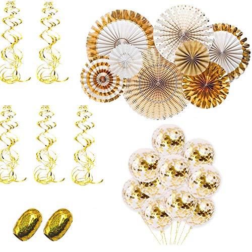 Dekorationen - Papier Fans Fächer, Gold Konfetti Ballons, Gold Hängend Wirbel, Gold Band für Geburtstag Hochzeit Festival Celebration Party Dekoration ()