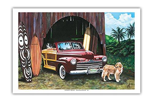 Pacifica Island Art - Surf-Freak - Retro Woodie mit Surfbrettern - Gemälde von Scott Westmoreland - Kunstdruck 31 x 46 cm
