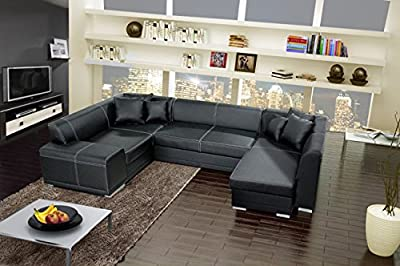 VERANI BIS large black double ended corner sofa bed with 2 storage containers boxes made of faux leather living room furniture sofas couches from KRK