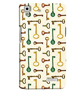 Blue Throat Key Pattern Printed Designer Back Cover/ Case For Oppo R7