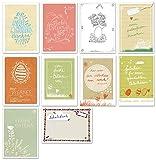 10 witzige Osterkarten - gemischtes 10er Set Osterpostkarten - Ostergruß, bunter Postkarten & Grußkarten Mix zu Ostern