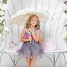 Leo565Tom Encaje Paraguas Estilo europeo recorte decoración de la boda paraguas hecho a mano negro encaje