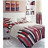Just Contempo - Completo copripiumino con lenzuolo ad angoli, Cotone, rosso (nero panna marrone grigio), Doppio
