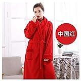 OMFGOD Der Frauen Winter Bademantel groß dick lang Flanell Schlafanzug Mode Bequem Freizeit Nacht Kleid Rot, Bild, L
