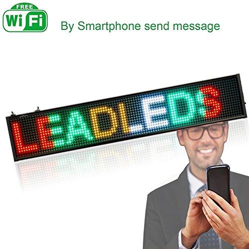 leadleds LED Display ultradünnes Design P5mm 16x 96Pixel SMD LED programmierbar Scrollen Nachricht Zeichen board, PC Software ändern Nachrichten (Mehrfarbig) (Vertikale Zeichen Zu öffnen)