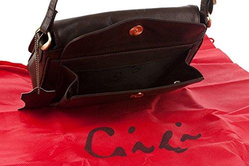 Organizer-Umhängetasche aus Leder von Gigi - GRÖßE: B: 22 cm, H: 14 cm, T: 5 cm Dunkelbraun