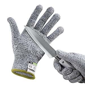 yokamira Gants Anti-Coupure, Protection De Cuisine Bricolage- Résistant, Souple, Flexible, Antidérapant Protection de Niveau 5 Conforme à la Norme en 388, 1 Paire - Taille M