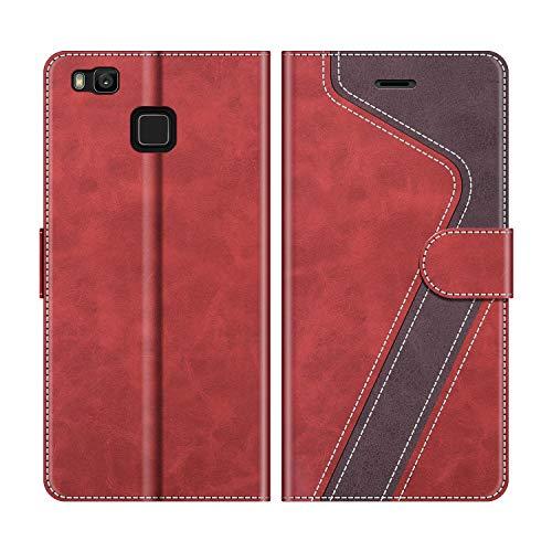 MOBESV Handyhülle für Huawei P9 Lite Hülle Leder, Huawei P9 Lite Klapphülle Handytasche Case für Huawei P9 Lite Handy Hüllen, Modisch Rot