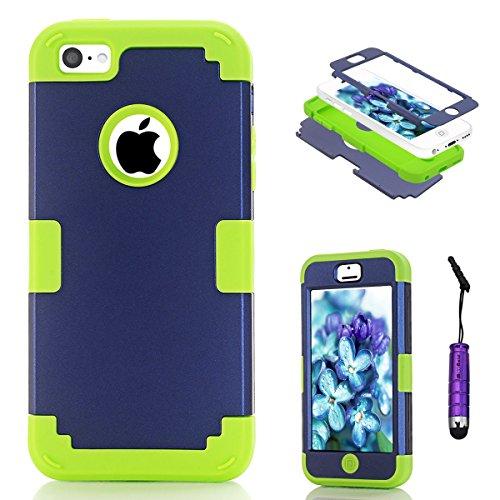 iPhone 5c Coque, Moonmini® Ultra mince protection antichoc Combo Goutte protection Case Coque Housse Etui pour iPhone 5c, Bleu + vert