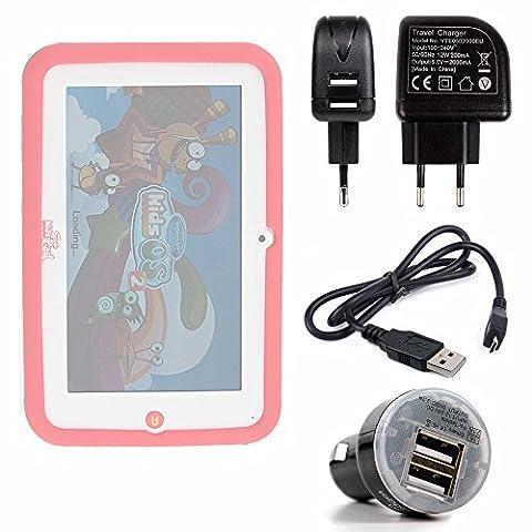 Kit de charge 3 en 1 pour Videojet KidsPad 4 tablette tactile enfant 7 pouces (5071 5072) - Chargeur secteur, voiture et câble mini USB