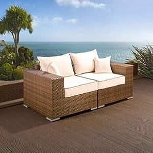 avant garde canap 2 places d 39 ext rieur en rotin livr avec des coussins marron cr me. Black Bedroom Furniture Sets. Home Design Ideas