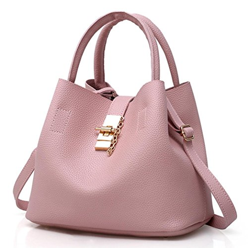Handtasche Umhängetaschen für damen-Damenhandtaschen groß Leder Damen ,YULAND Mode 2Pcs Damenmode Leder Schultertasche Brötchen Mutter Tasche mit Handtasche (Rosa) (Millennium-leder-handtasche)