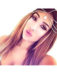 Hosaire Moda para el cabello diadema cadena Cadena piedras Mujer pelo de la venda de la venda principal Artículos de decoración de fantasía brillante borde hermosa novia sombreros abrazaderas de regalo de la joyería de amor