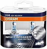 OSRAM NIGHT BREAKER UNLIMITED H4, Halogen-Scheinwerferlampe, 64193NBU-HCB, 12V PKW, Duobox (2 Stück)