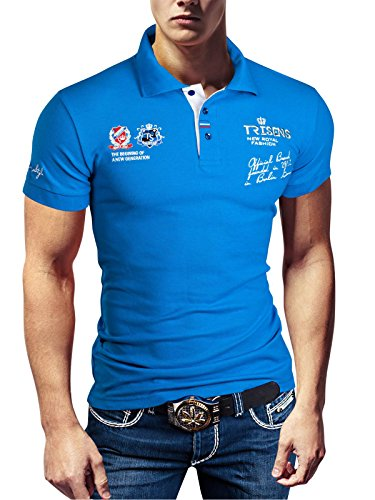 Polo New Poloshirt T-Shirt Shirt Hemd Party Slim Herren Kurzarm Pique Wow, Farbe:Blau, Größe:3XL