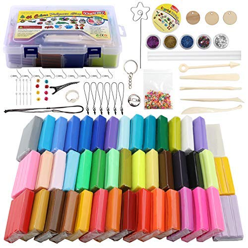 Polymer Clay Starter Kit, 46 Farben Ofen Backen Ton DIY Modeling Clay Bockers 5 Scuplting Tools, 5 Farben Glimmerpuder, 40 Schmuck Zubehör für Kinder und Erwachsene - Farbe Clay Polymer