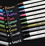 Chengyida 10-pack Différentes couleurs marqueur Stylo métallique étanche Or Argent Bleu toutes les couleurs Fabrication de cartes Doré marqueur