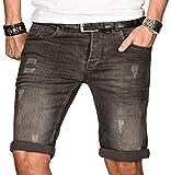 A. Salvarini Herren Designer Jeans Short kurze Hose Slim Sommer Shorts Bermuda,  Grau Washed, [AS-102-W32]