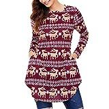 GreatestPAK Damen Langärmelige Tops Weihnachten Elche Schneeflocken Drucke Bogensaum Hemden