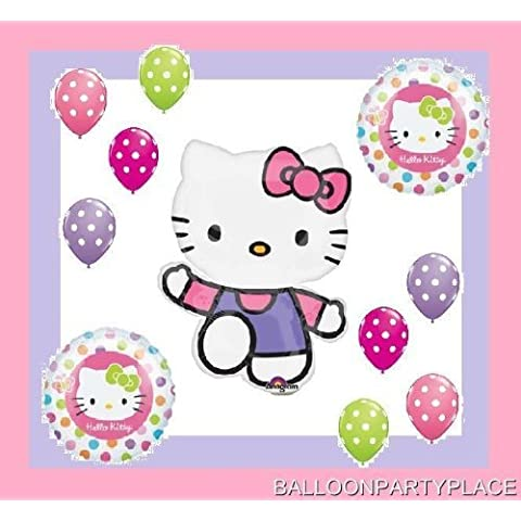 HELLO KITTY BALLOONS SET polka dots latex birthday party supplies decorations by LGP - Hello Kitty Birthday Party Balloons