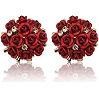 Shining Diva Fashion Red Floral Gold Plated Stud Earrings for Women (9175er)