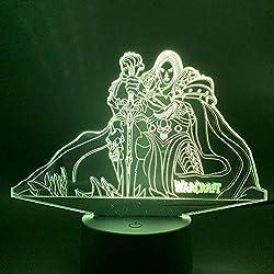 R2lex Nachtlicht 3D Illusion Lampe Lich King Arthas Menethil R2lex LED 7 Farben Tischlampe Weihnachten Geburtstagsgeschenk Für Kinder USB Stromkabel Weiß