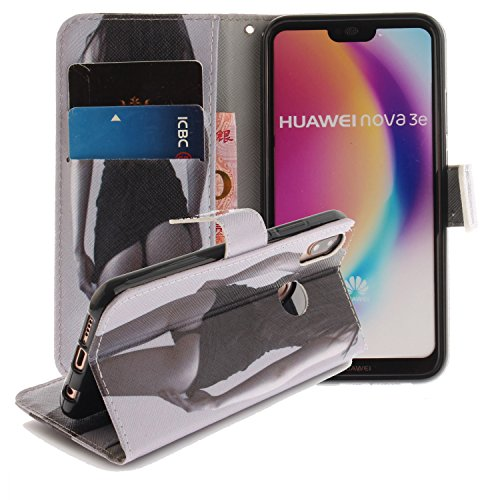 Price comparison product image For Huawei P20 Lite Case,  Premium Ultra Slim Thin Luxury Magnetic Flip PU Leather Wallet Flip Case Cover with Card Slots Stand Case Cover Shell Protective Case Cover 2
