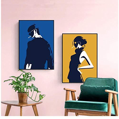 qiumeixia1 Moderne Minimalistische Rauch Junge Leinwand Malerei Abstrakte Schwarze Wandkunst Poster Drucken Dekorative Bild für Wohnzimmer Wohnkultur 50 * 70 cm