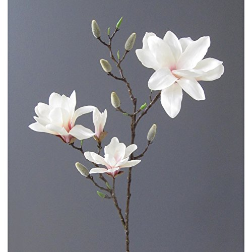 Kunstblume MAGNOLIE 106 cm. Mit 4 Magnolienblüten und Knospen. ROSA -10