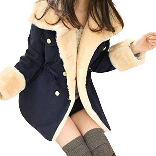 Daunenjacke Winterjacke Damen Mantel Warme Zweireiher Wollmischung Jacke Daunenmantel Übergangsjacke Steppjacke Sannysis Frauen Winter Warme Mit Kapuze Trenchcoat Outwear (XL, Marineblau) (Breasted Wolle Kragen Double)