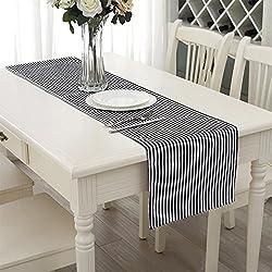 Aytai Schwarz-Weiß-gestreiften Tischläufer 33cm X 182cm Thicken Baumwoll-Leinen Classic-Streifen Tischdecke für Hochzeit Bachelorette Party Tischdekoration 13inch (W) x 72inch (L)