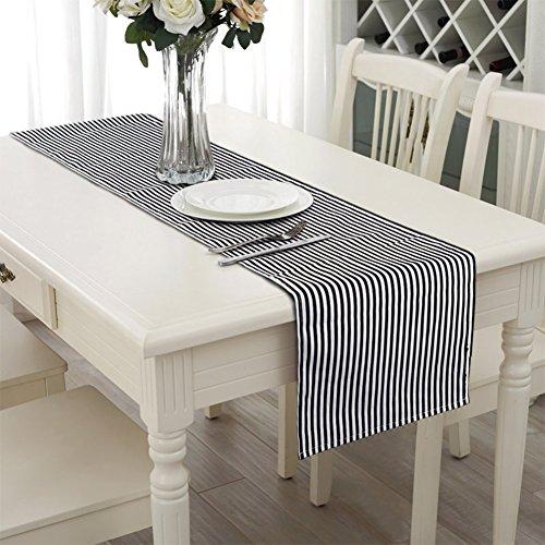 Aerwo 14*72inch/35*182cm chemins de table lavable en machine Noir et blanc rayé chemin de table fête de mariage les dîners de chemin de table