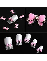 10stk. 3D rosa Legierung Strass BowTie Schmetterling Nail Art Dekoration Sticker DIY