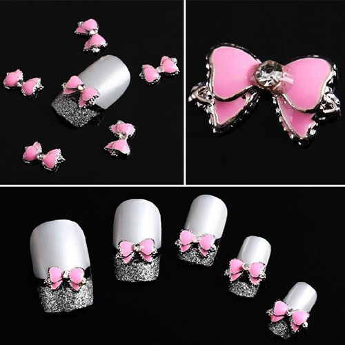 10stk. 3D rosa Legierung Strass BowTie Schmetterling Nail Art Dekoration Sticker DIY