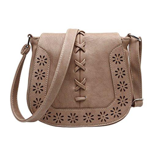 GSPStyle Damen Handtasche Schultertasche Umhängetaschen Durchlöchernde Design Damentasche Tan