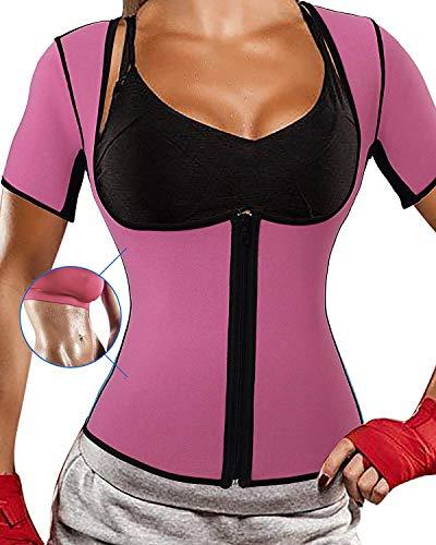 Optlove Damen Neopren Sauna Shirt Sweat Weste Hot Thermo-Tank Korsett Anzug Fitness Top Body Shaper mit Ärmeln Gewicht Verlust, Damen, Pink Sauna Sweat Shirt, X-Large: Fit 35-36.2 inch Waistline -