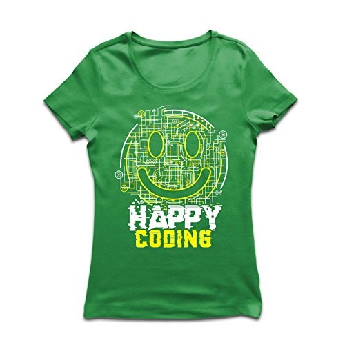 Frauen T-Shirt Fröhliche Codierung - lächeln Sie Gesicht, lustiges Emoji, Spieler oder Computer Services (XX-Large Grün Mehrfarben)