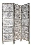 Orientalischer Paravent Raumteiler aus Holz Lakshmi 150 x 180cm hoch in Weiss | Indischer Trennwand als Raumtrenner oder Dekoration im Zimmer oder Sichtschutz im Garten, Terrasse oder Balkon