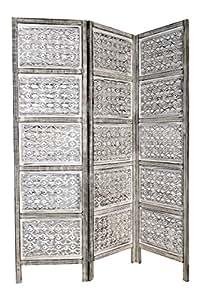 orientalischer paravent raumteiler aus holz lakshmi 150 x 180cm hoch in weiss indischer. Black Bedroom Furniture Sets. Home Design Ideas