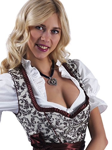 Alpenmärchen 3tlg. Dirndl - lang Trachtenkleid, Bluse, Schürze, Gr. 34-60, braun - ALM746