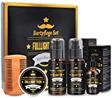 Kit De Coffret Soin Barbe Homme avec 118ML Shampoing Barbe,118ML Revitalisant à barbe Conditioner,Huile Barbe,Baume Barbe,Peigne Barbe,Accessoire Barbe Kit Barbe Entretien Cadeaux pour Homme