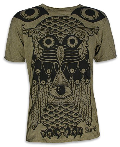 Sure Herren T-Shirt Allsehendes Auge Eule Illuminati Freidenker Freigeister Goa Psychedelics (Olive Grün L)
