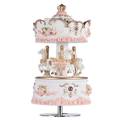 Andoer® laxury windup 3-cavallo del carosello music box creativo artware/regali castello melody nel cielo rosa/viola/azzurro/oro ombra per l'opzione