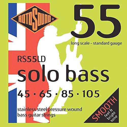 Rotosound Edelstahlsaiten für E-Bass, gewalzte Wicklung, Standardstärke 45 65 85 105