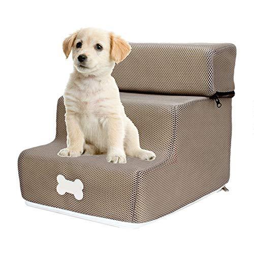 Allowevt Escalera con escalones para Perros con Escalera extraíble Desmontable y Lavable Gato pequeño Perro 3 Pasos para sofá Cama Contemporary