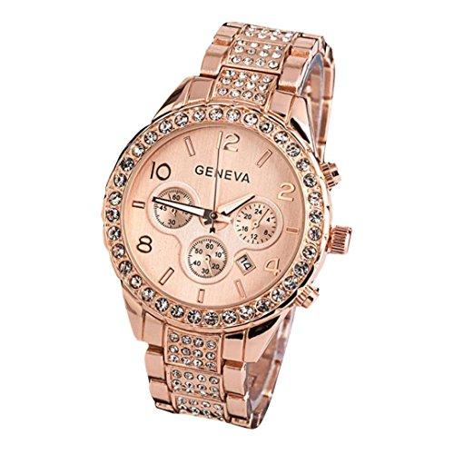 Geneva Orologio donna Elegante - feiXIANG Luxury Orologio In di cristallo di lusso,Donna Quarzo Analogico Orologio Bracciale Orologi Orologio al Quarzo Orologi da uomo (Oro rosa)