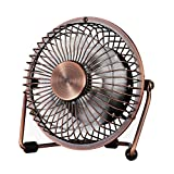 Almand Adjustable USB Desk Metal Archaistic Mute Personal Mini Table Fan On/Off Switch Great For Desktop Tabletop Office Travel Retro Designed