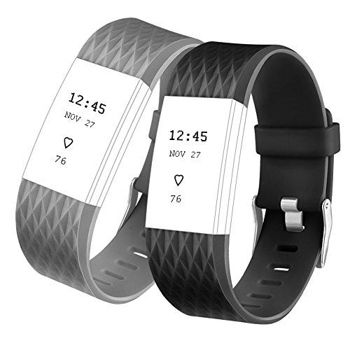 Fitbit Charge 2 Armband, Vancle Armband Ersatz Uhrenarmband für Fitbit Charge 2 Armbänder (Kleine, Schwarz+Grau)